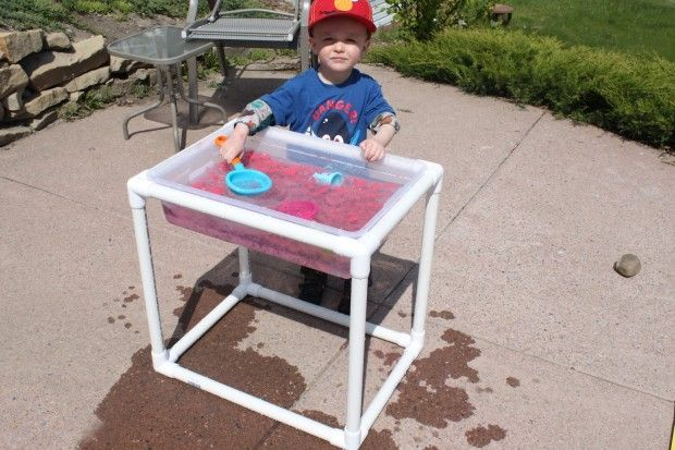 Pvc sensory table kid stuff pinterest for Diy sand and water table pvc
