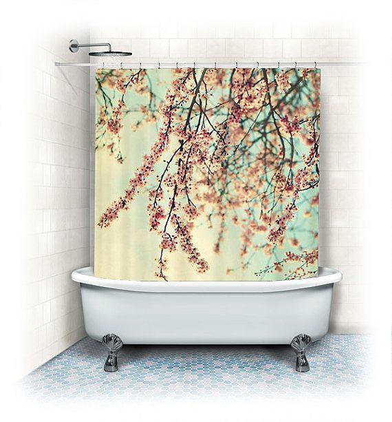 Cherry blossoms shower curtain quot take a rest quot white pink aqua bathro