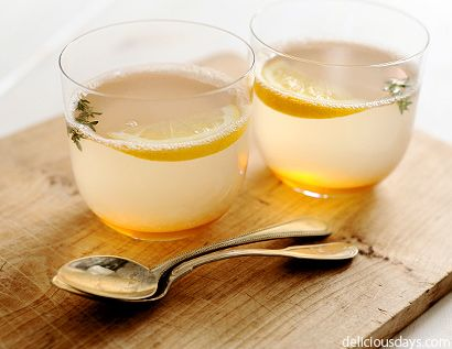 Thyme, lemon, honey, ginger, chili to fight a nasty cold.