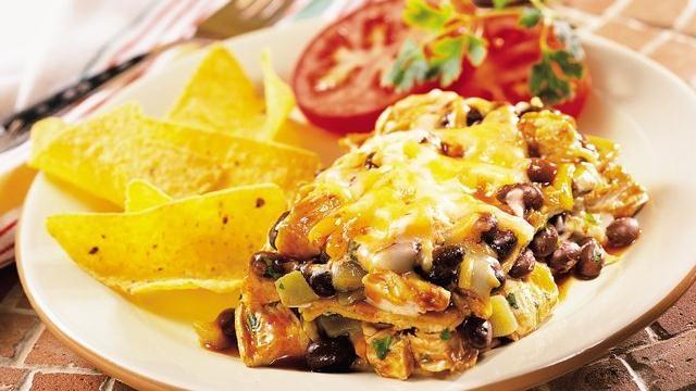 layered chicken and black bean enchiladas