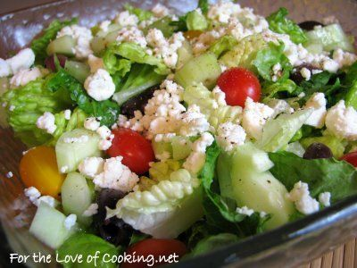 Greek Salad with a Lemon Garlic Dressing | Lean and Green | Pinterest