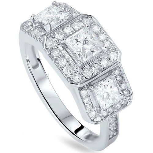 40CT Princess Cut Diamond 3 Stone Engagement Ring Halo 14K White ...