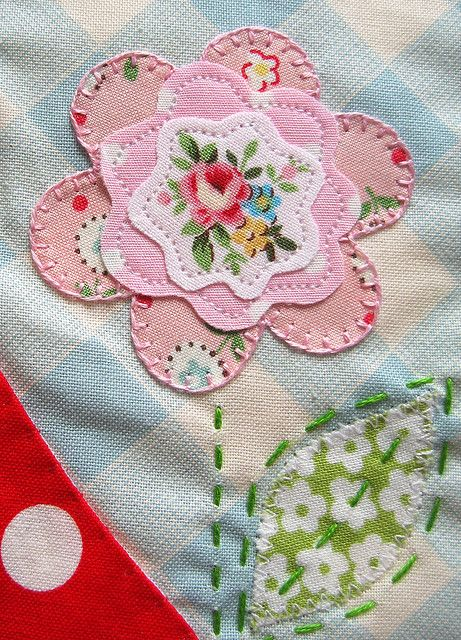 Pink applique flower
