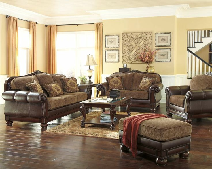 Ashley Beamerton Traditional Classic Old World Brown Sofa Loveseat Ch