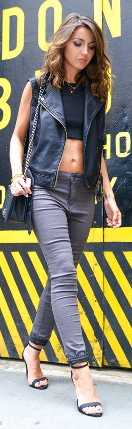 Black Leather Vest by Lovely Pepa