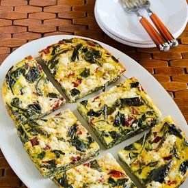 Slow Cooker Frittata with Kale, Roasted Red Pepper, and Feta | Recipe