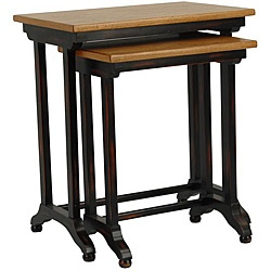 Safavieh annie black oak brown nesting tables set of 2 for 12 inch high table