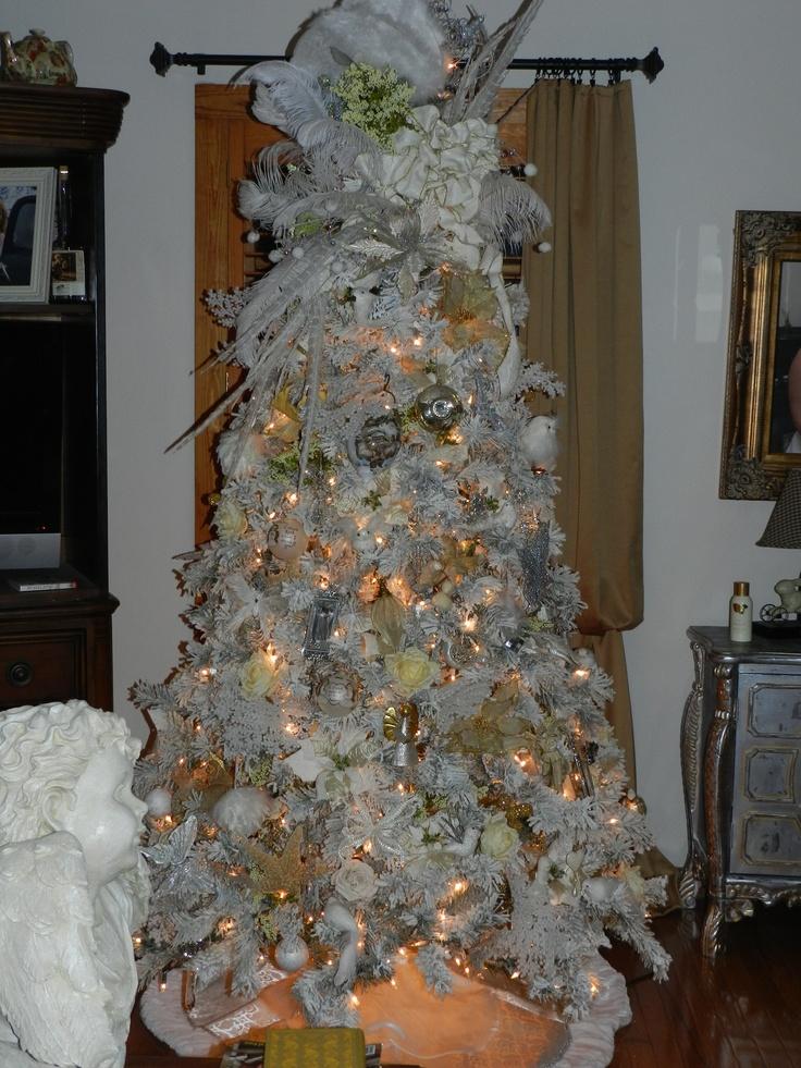 Green flocked white christmas tree 2011 christmas trees for White christmas tree pinterest