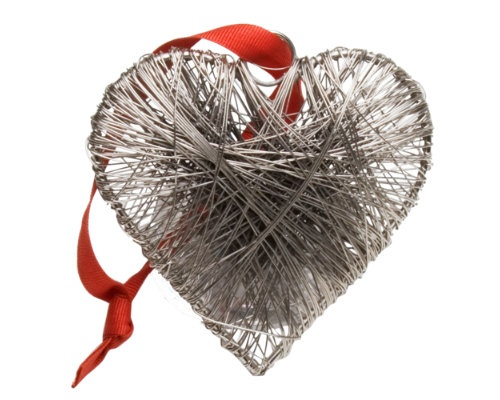 Christmas wrapped metal heart ornament wedding pinterest