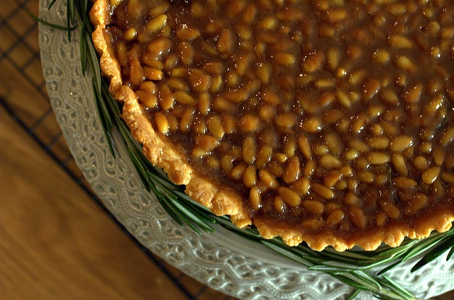 Chocolate Tart With Pine Nuts Recipe — Dishmaps
