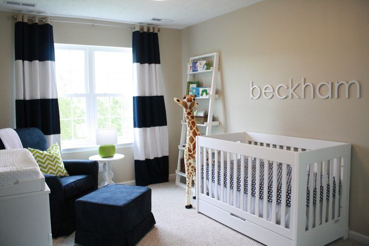 Window treatments that wow... and we're loving the zesty spark of lime! What's that in the corner? A comfy, cozy nursery glider in navy microsuede. Great choice! http://bit.ly/KYhMhB