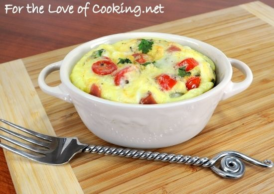 Mini Baked Frittata with Ham, Jalapeno, Sharp Cheddar, Tomatoes, and ...