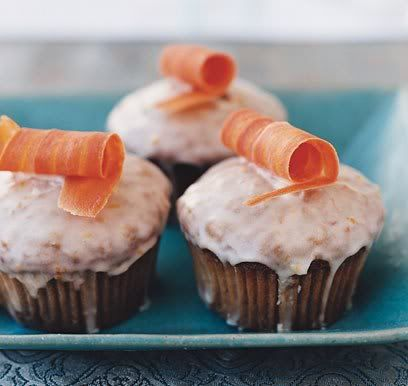 Carrot cupcakes w/candied carrot top | Party | Pinterest
