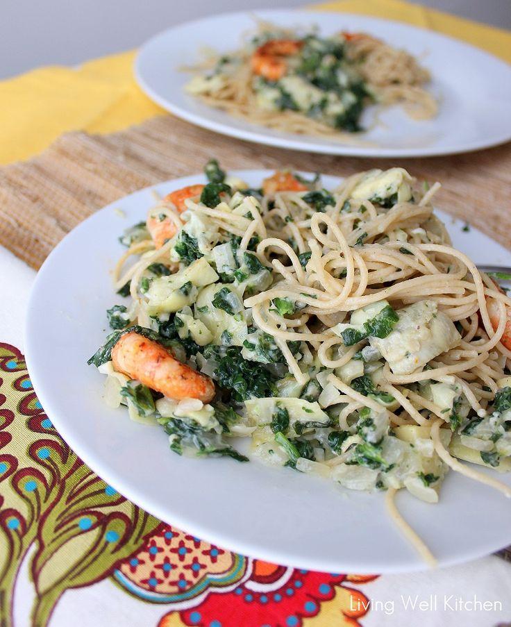 Spinach and Artichoke shrimp pasta | Seafood ideas | Pinterest