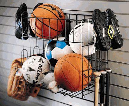 Garage storage systems for sports equipment