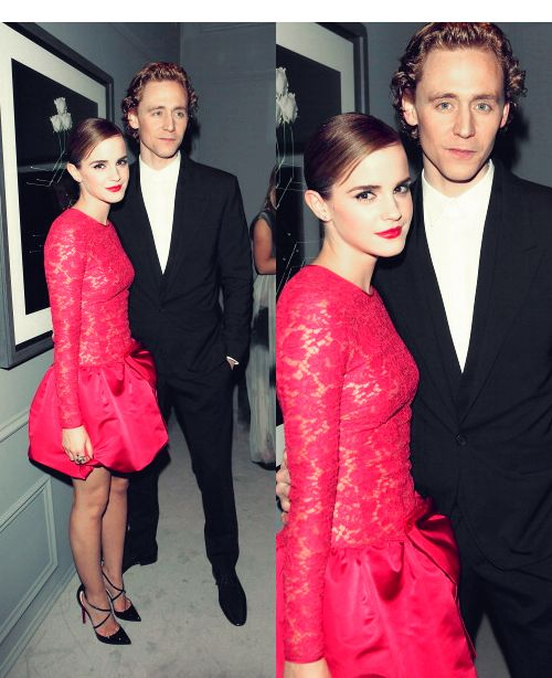 Life ruiner Tom Hiddleston pictured with embodiment of perfection Emma Watson. And all the peasants wept.