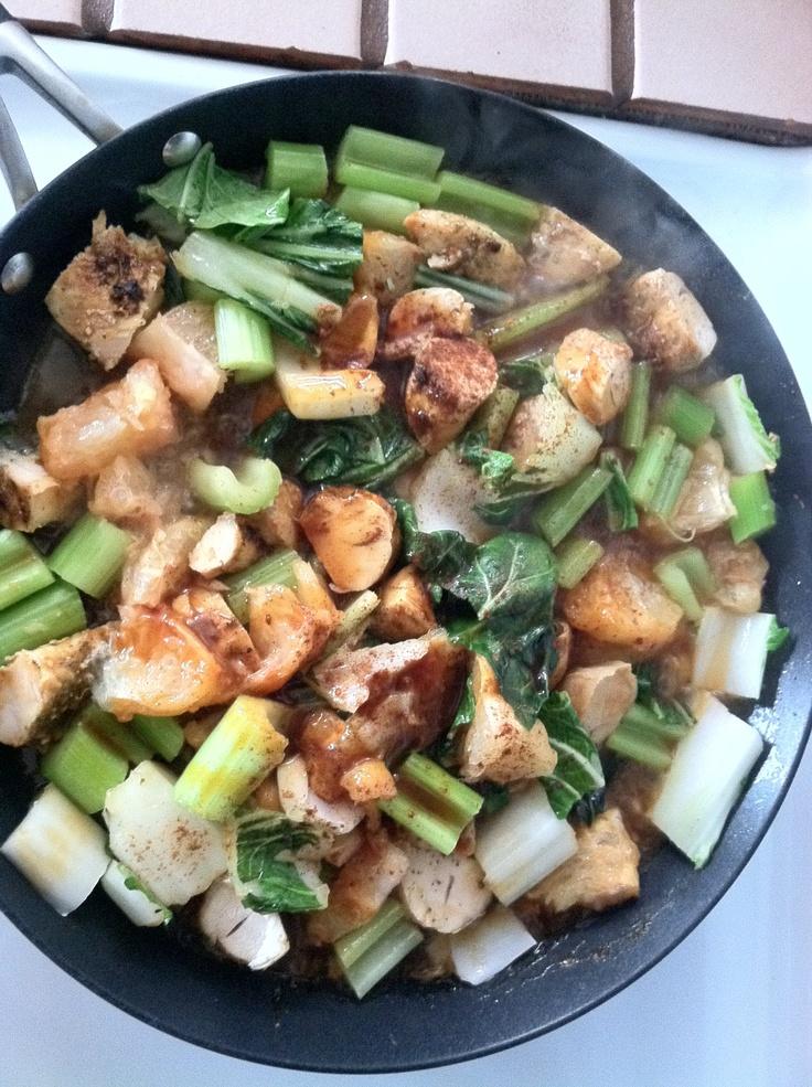 stir fried chicken breast, celery & bok choy
