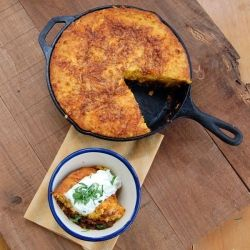 ... of cheesy goodness, beefy chili and hearty cornbread. Gluten-free too