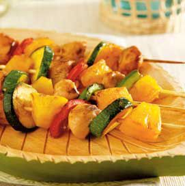 Hawaiian Chicken Kabobs. Can add many different veggies with this