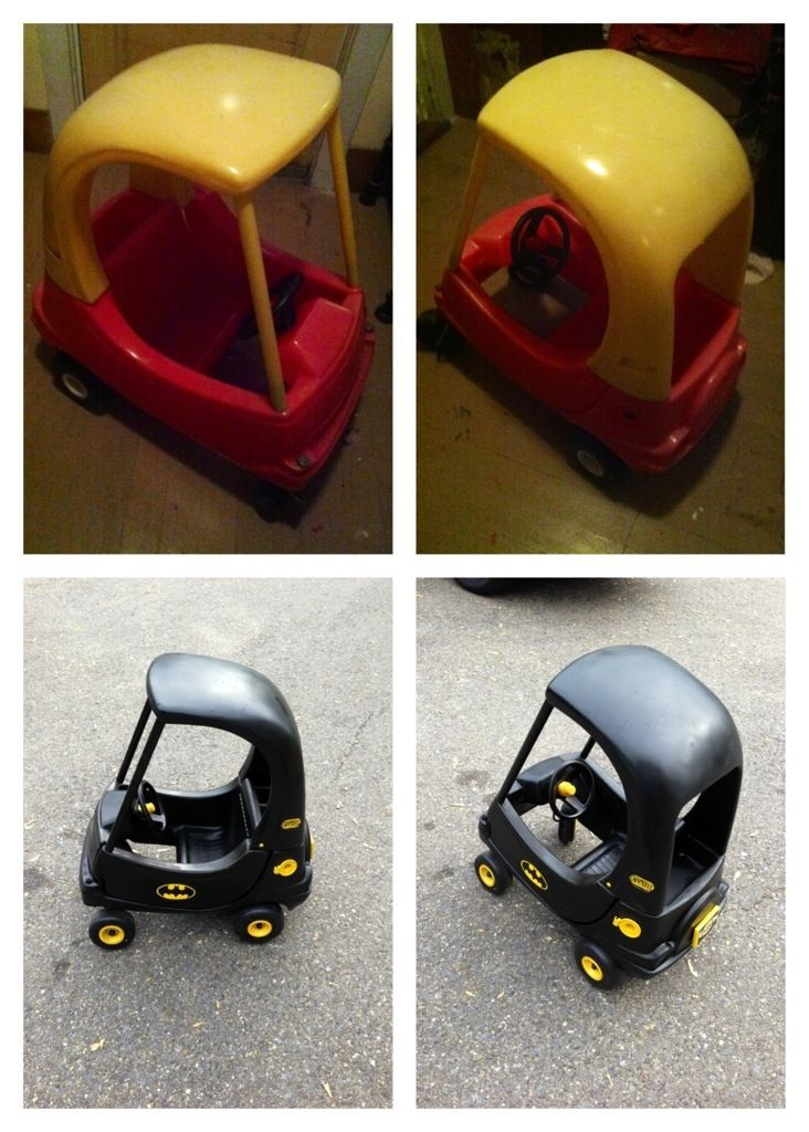 Little tikes cozy coupe converted into a batmobile using spray paint
