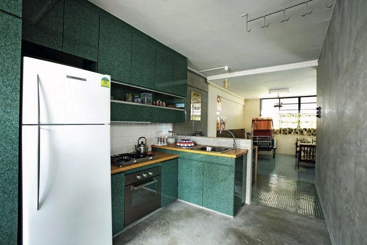 Very typical hdb kitchen and cabinet for the vintage singaporean theme