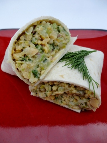Chickpea salad wraps... next time less mustard and dill pickle and ...