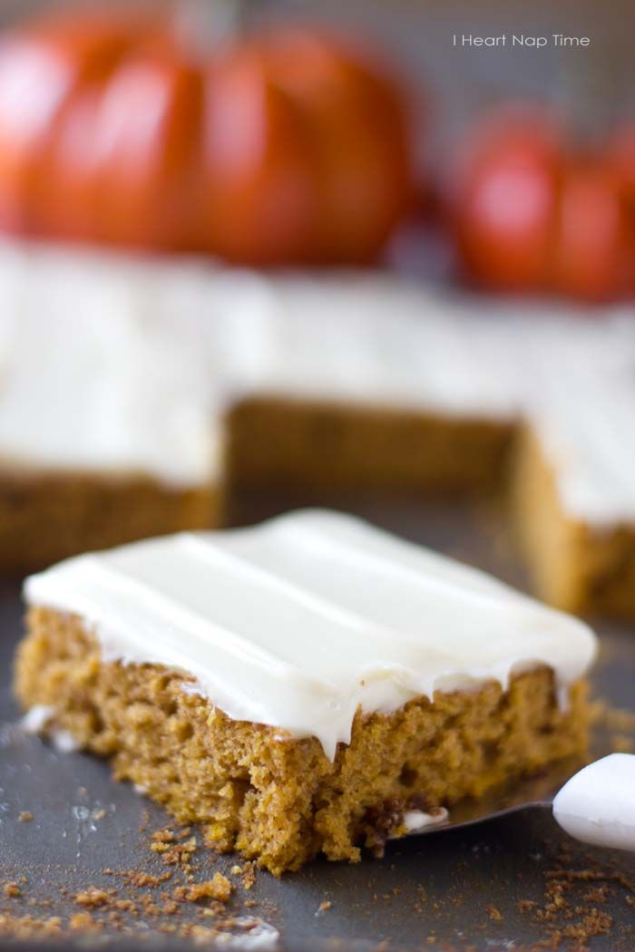 Super soft pumpkin bars with cream cheese frosting via iheartnaptime ...