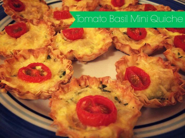 Tomato Basil Mini Quiche Recipe | mrscavin.com recipes | Pinterest