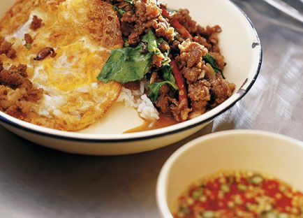 David Thompson's Stir-fried minced beef with chillies & holy basil. A...