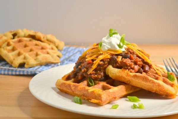 Whole Grain Savory Cheddar Cornmeal Waffles with chili
