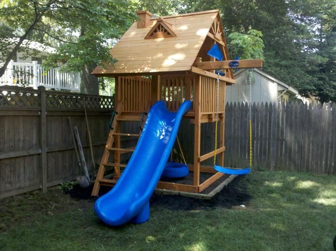 Swing set for small space yard pinterest for Small wooden swing sets