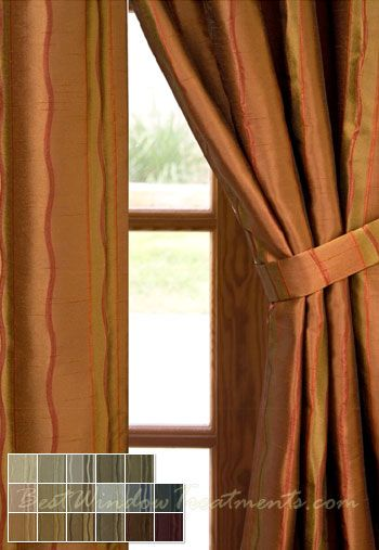 ... Stripe in Sienna Curtains | Copper Curtains (Bronze, Rust