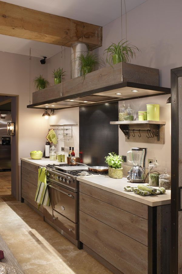 Natural wood and green accents.