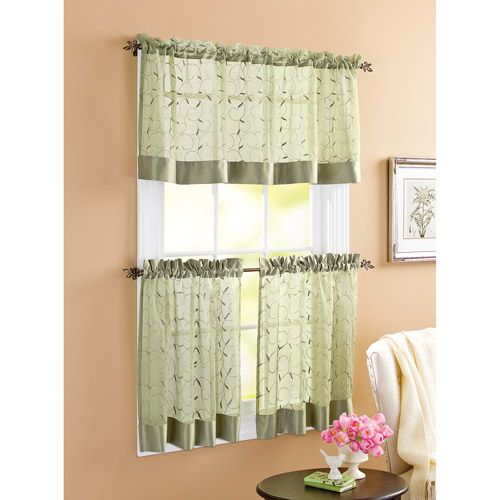 Better Homes And Gardens Linen Leaf 3pc Kitchen Curtain