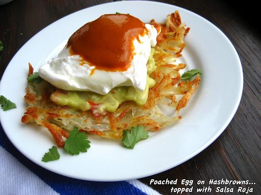 ... -Style... or Poached Egg on Hash browns with Guajillo Chile Salsa