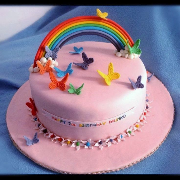 Birthday Cake Ideas Rainbow : Rainbow Birthday Cake Rainbow themed birthday party ...