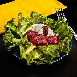 Roast Strawberry Salad — Goat Cheese and Balsamic Vinegar