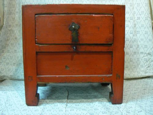 Cf 102 antique chinese red lacquer small chest of drawers wood 1860 s