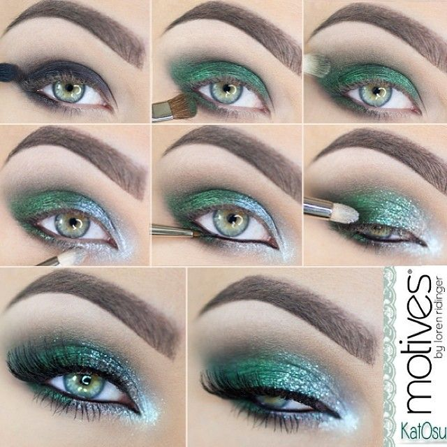 here's a step by step tutorial how to achieve this emerald, sparkly eye make up.  used is from @motivescosmetics by gorgeous @Loren Cline Cline Ridinger