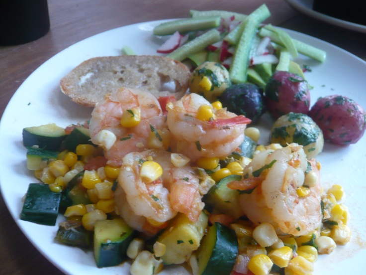 Shrimp, Zucchini, Poblano and Corn Sautee with Parsley Potatoes ...