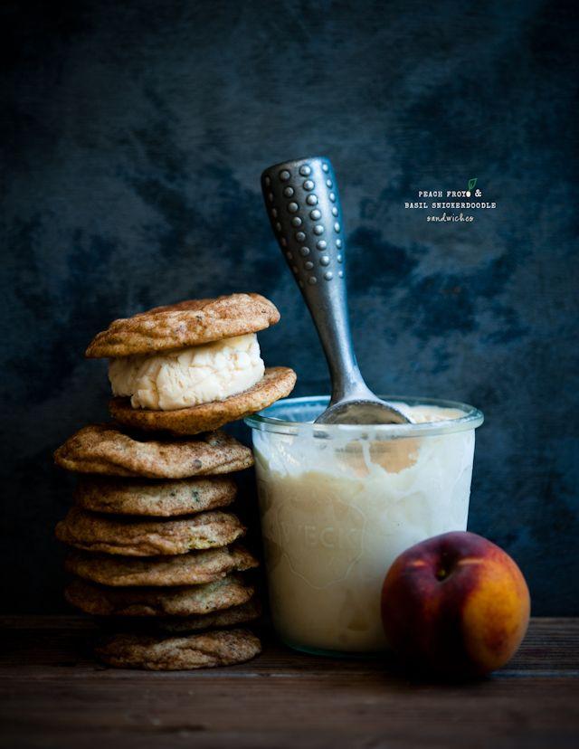 Peach Frozen Yogurt and Basil Snickerdoodle Sandwiches