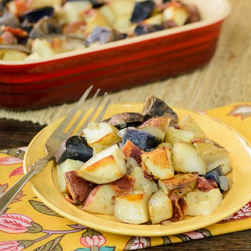 Roasted Potatoes with Onion and Bacon | Recipe