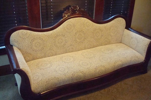 Civil War Era Sofa with lace vintage and antique
