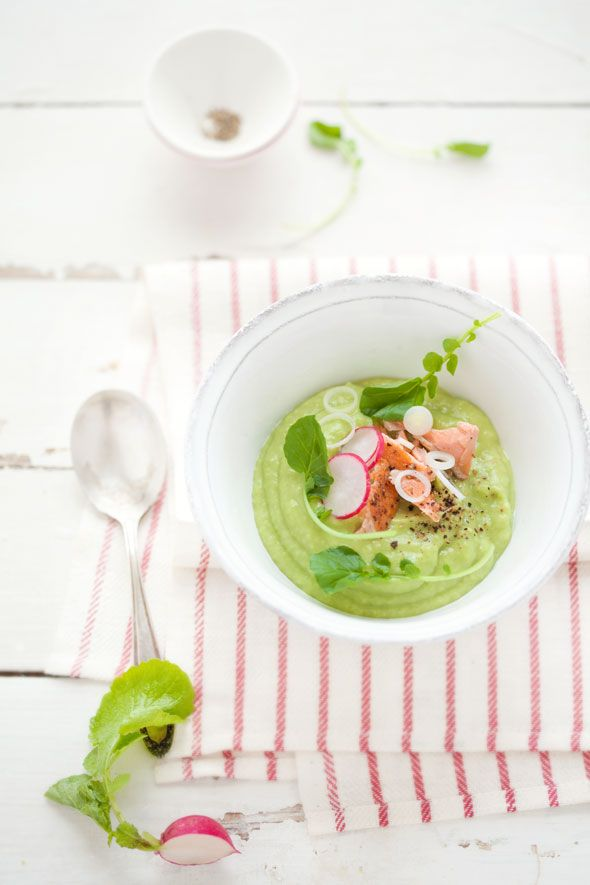 soup made of avocados, cucumber and apple served with poached salmon ...