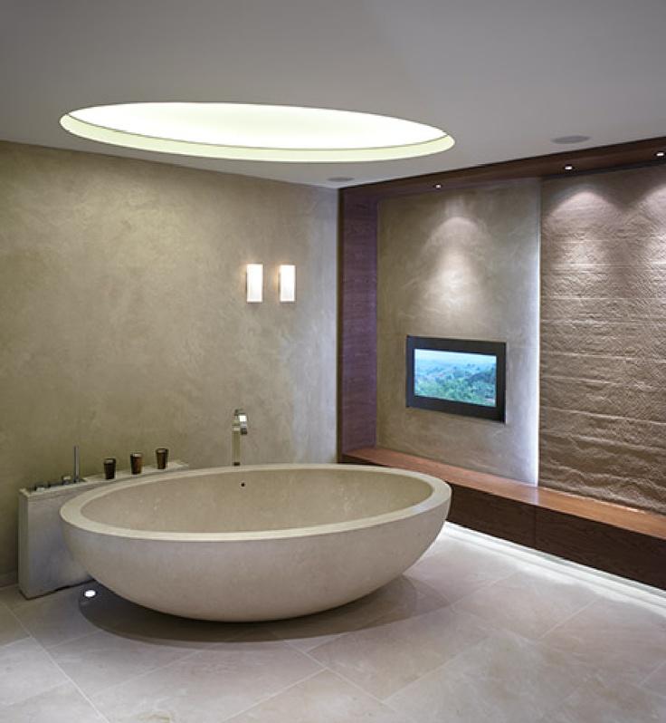 Polished plaster master bathroom walls venetian plaster for Venetian plaster bathroom ideas