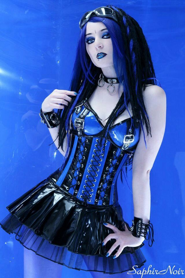 Sexy goth girl in blue latex