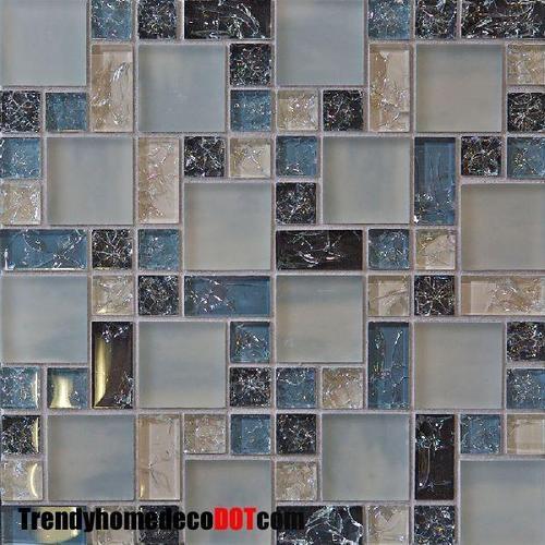 blue crackle glass mosaic tile tile backsplash ideas