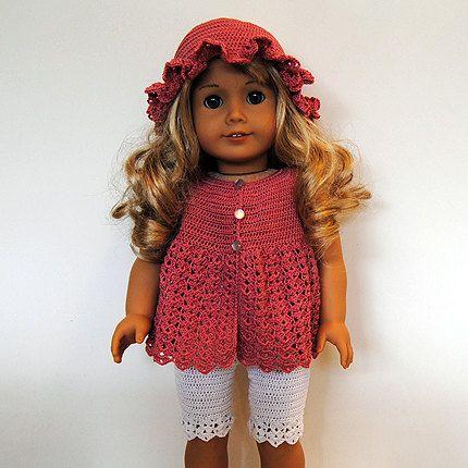 Crochet Patterns American Girl Doll : PDF Crochet Pattern - American Girl Doll Clothes 27 - Dress, hat and ...