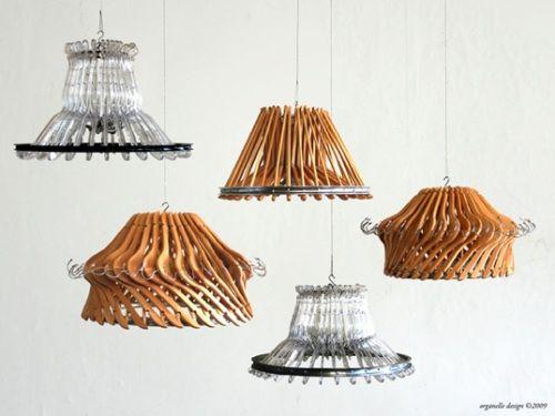Innovadoras Lámparas hechas con Perchas de Colgar Ropa Recicladas