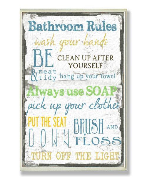 39 bathroom rules 39 wall sign for Bathroom decor rules